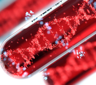 A macro image of a blood vial with a graphic of DNA in it represents liquid biopsy techniques.