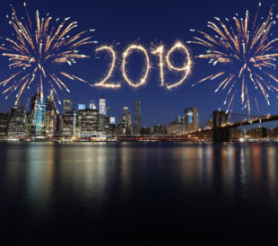 New year 2019 fireworks