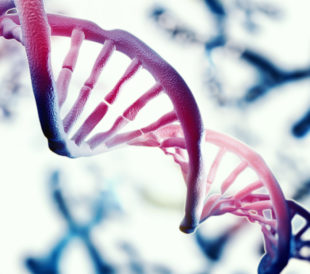 DNA illustration, blue and purple