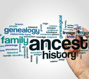 A word cloud of words related to ancestry and genetics