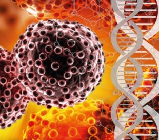 A graphic of DNA overlays images of cells
