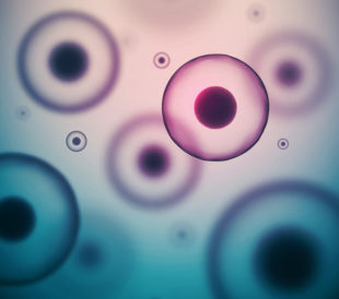 Floating cells on a blue and purple background