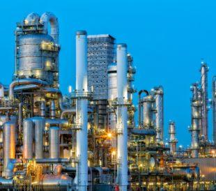 Modern petrochemical plant near Rotterdam, Netherlands