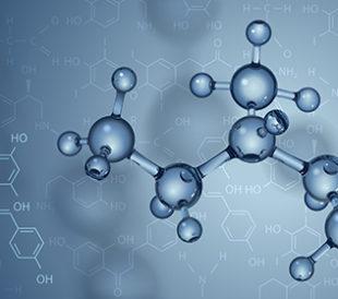 Vector background. Molecules and chemical formulas. Image: Yevhen Tarnavskyi/Shutterstock.com.